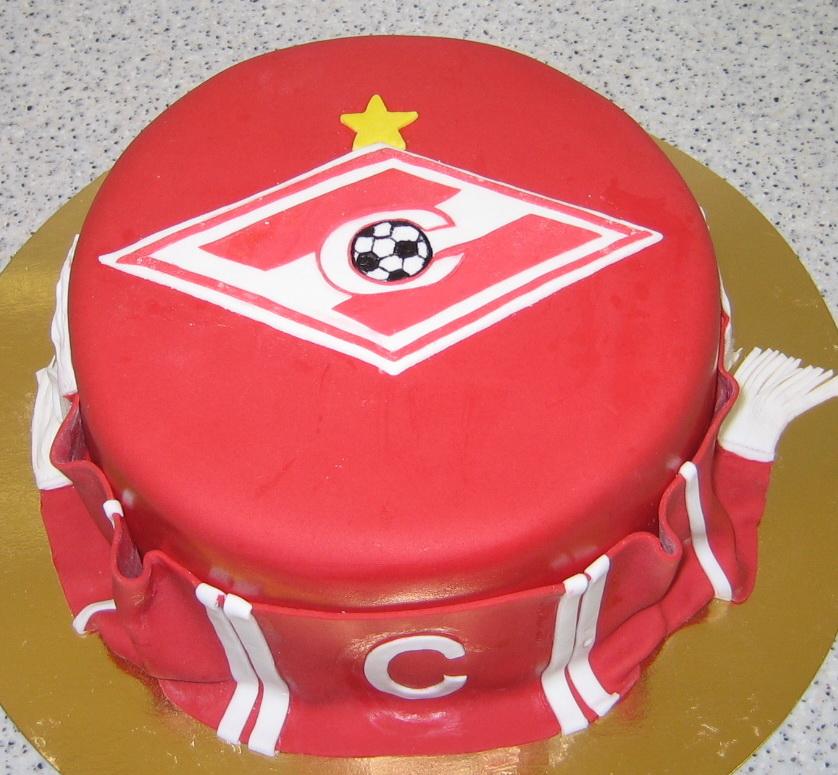 Торт Спартак с эмблемой клуба и шарфиком для фаната ...
